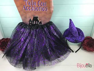 """Набор юбка и обруч-шапочка фиолетовый цвет карнавальный детский костюм с фатина """"Ведьмочка"""""""