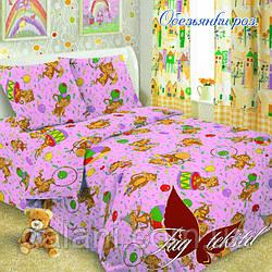 Детский розовый комплект постельного белья из поплина