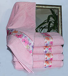 Полотенце махровое розовое Весна цветы 70х140