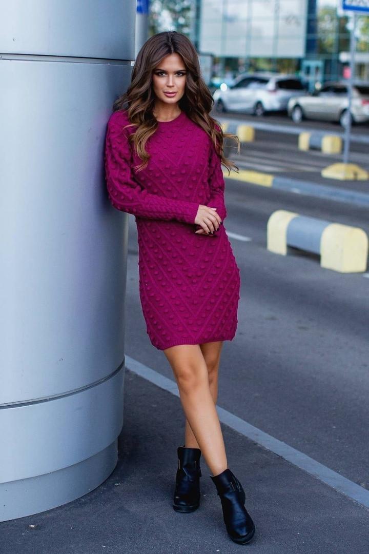 Женское вязаное платье приталенное шерсть+акрил длинный рукав размер: 42-46