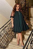Праздничное платье а силуэта с люрексом  и с накидкой из сетки с 50 по 60 размер, фото 1