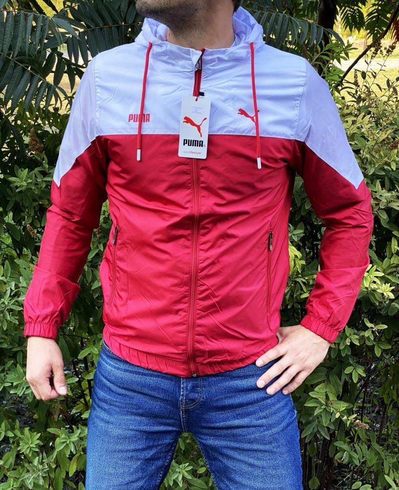 Мужская куртка ветровка Puma 21179 красно-белая
