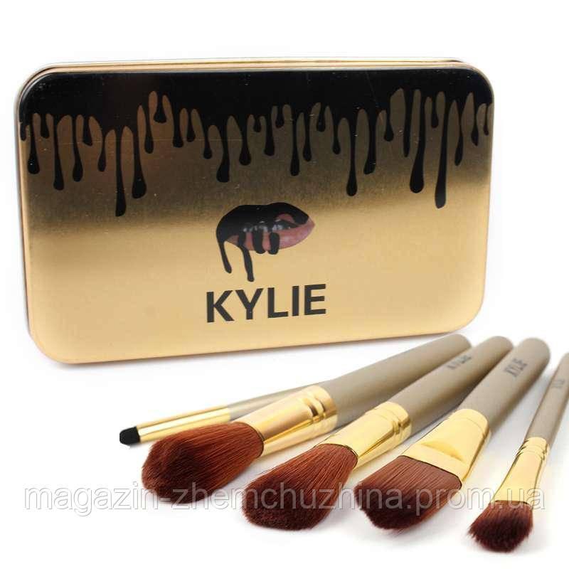 Набор кистей для макияжа Kylie большие серебро 12 шт.!Хит цена