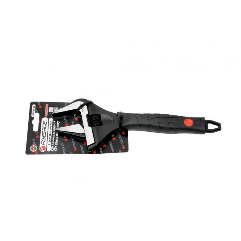 """Ключ разводной с прорезиненной рукояткой 8""""-200 мм (захват 0-35 мм, кованная сталь), на блистере"""