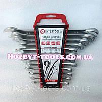 Набор комбинированных ключей 12 элементов 6-22мм Cr-V INTERTOOL HT-1203, рожково-накидные