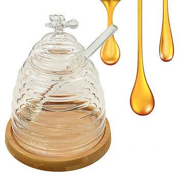 Банка для меда с ложкой на бамбуковой подставке STENSON 10 х 13 см (R30171)