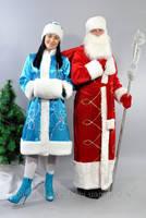 Комплект костюм Дед Мороз красный и Снегурочка бирюзовый