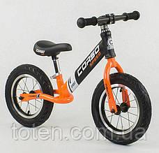 """Детский велобег (беговел) CORSO 24846    надувные колёса 12"""",  cтальная рама Черно-оранжевый"""