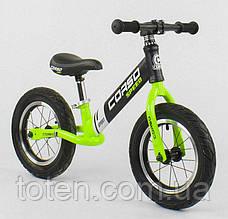 """Детский велобег (беговел) CORSO 64207   надувные колёса 12"""",  cтальная рама  Черно-салатовый"""