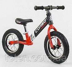 """Детский велобег (беговел) CORSO 83712    надувные колёса 12"""",  cтальная рама  Черно-красный"""