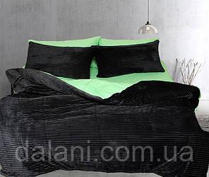 Двуспальный комплект постельного белья зима-лето черный/зеленый