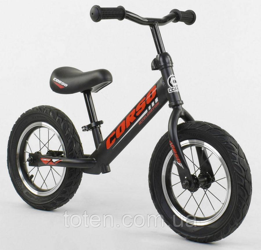 """Велобіг від Беговел для дітей 42812 CORSO, надувні колеса 12"""" Чорний з червоним Регулир висота сидіння/"""