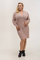 Вязаное теплое платья большого размера Бежевый, фото 1