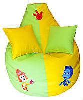 Бескаркасное детское кресло-груша Фиксики пуфик мягкая мебель