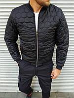 Мужская куртка бомбер стеганная на синтепоне с меховой подкладкой