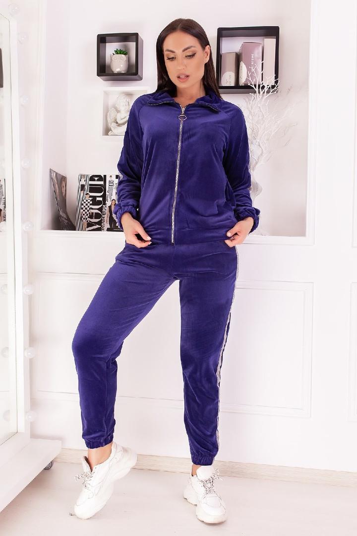 Велюровый спортивный костюм кофта на молнии и штаны с лампасами размер: 48-50,52-54