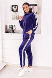 Велюровый спортивный костюм кофта на молнии и штаны с лампасами размер: 48-50,52-54, фото 5