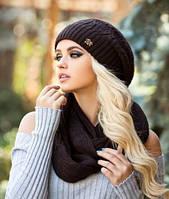Комплект берет и шарф-восьмёрка Вивьен