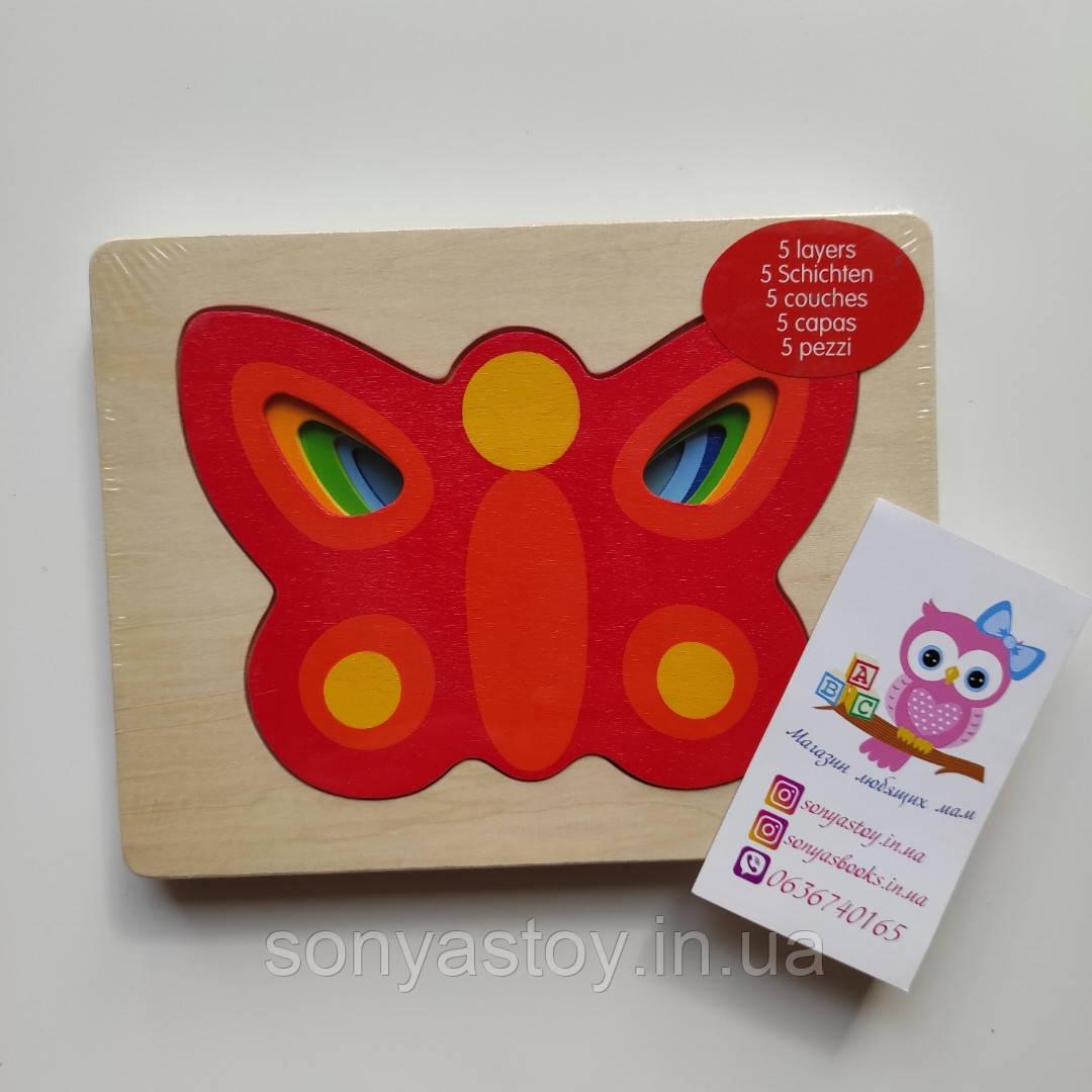 Пазл-вкладыш goki Бабочка, многослойная, для изучения размеров и цветов, 2.5+