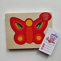Пазл-вкладыш goki Бабочка, многослойная, для изучения размеров и цветов, 2.5+, фото 1