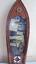 Ключница Лодка настенная деревянная «Лодка рыбака» размер 60*23*8