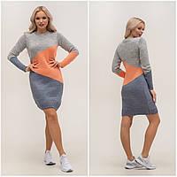 Стильне теплу сукню, триколірний Меланж/Персик, фото 1