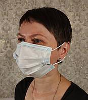 Маска медицинская одноразовая трехслойная штампованная сертифицированная с носовым фиксатором Голубая