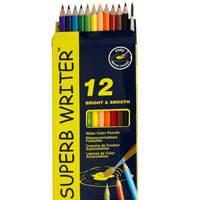 Карандаши цветные 12 цветов MARCO 4120-12CB Superb Writer Aquarelle, акварельные с кисточкой.