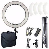 Кольцевая светодиодная лампа для фото или макияжа RL-18(45 см) с регулятором теплоты 55Bт Лампа для блогеров
