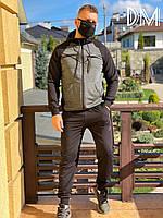 Мужской спортивный костюм Nike реплика качественная турецкая двунитка серый черный