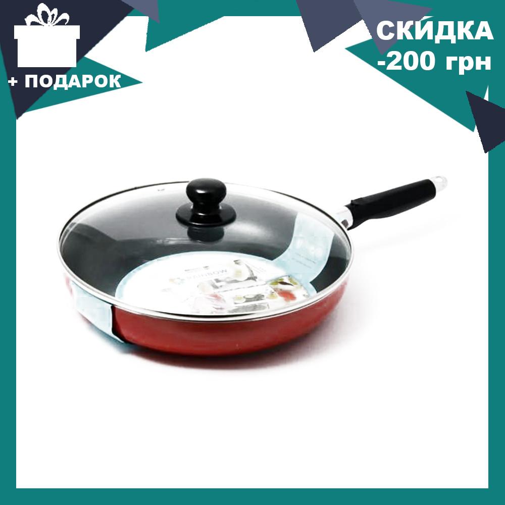 Сковорода с антипригарным покрытием с крышкой Maestro MR-1200-26 красная| сковородка Маэстро, сотейник Маестро