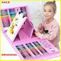 Детский набор для рисования 208 предметов с Мольбертом чемоданчик, Детский набор для творчества 208 розовый