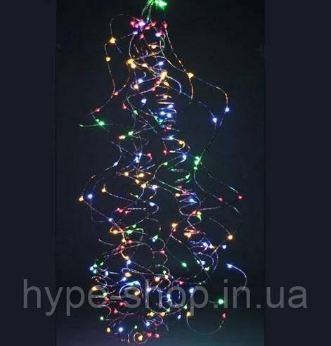 """Гірлянда """"Кінський хвіст"""" пучок 200 LED: 20 ниток по 1 м, 20 діодів/ нитка, колір Multicolor 8 режимів"""