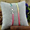 Шнурок шелковый цвет желто-розовый длина 45 см ширина 2 мм вес серебра 0.7 г, фото 2