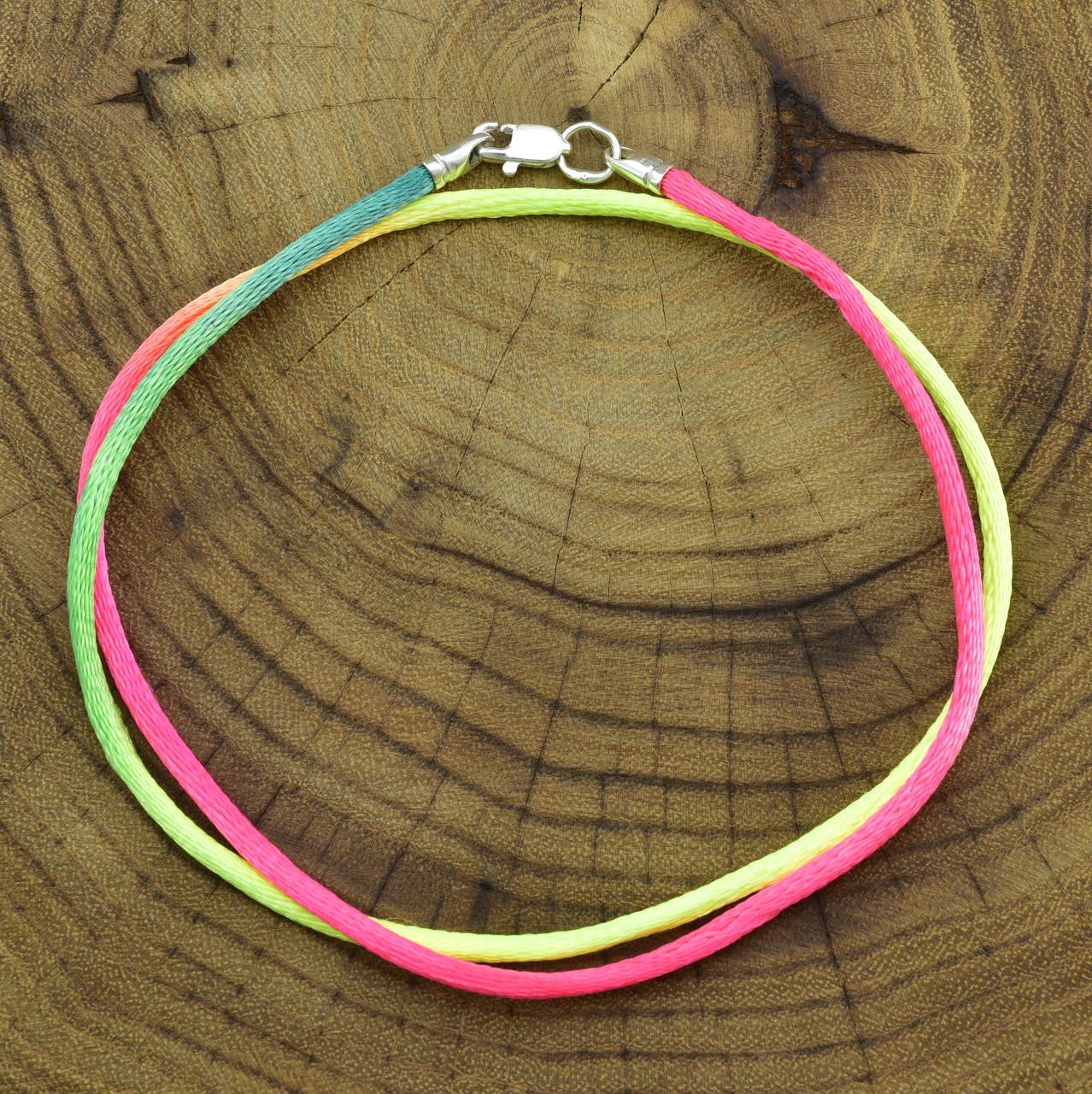 Шнурок шелковый цвет желто-розовый длина 45 см ширина 2 мм вес серебра 0.7 г