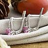 Серебряные серьги Иринка размер 13х5 мм  вставка розовые фианиты  вес 2.62 г, фото 3