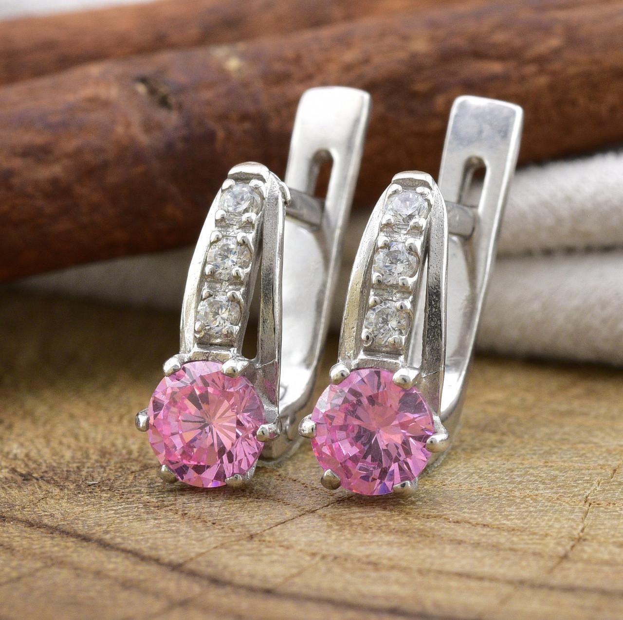 Серебряные серьги Иринка размер 13х5 мм  вставка розовые фианиты  вес 2.62 г