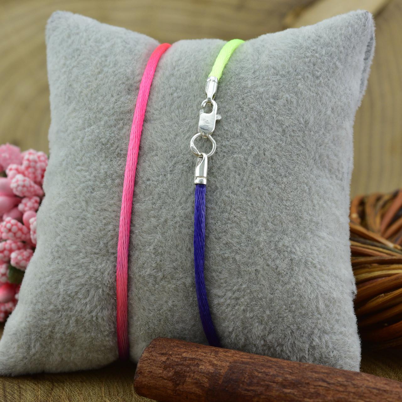 Шнурок шелковый цвет розово-синий длина 45 см ширина 2 мм вес серебра 0.7 г