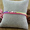 Шнурок шелковый цвет розово-синий длина 45 см ширина 2 мм вес серебра 0.7 г, фото 3
