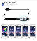 Bluetooth USB Світлодіодна стрічка 5м RGB з пультом ДУ, фото 7