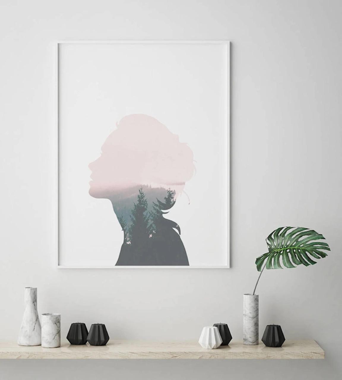 Плакат на стену. Постер. Двойная экспозиция. Forest Girl. Плакат формат А3