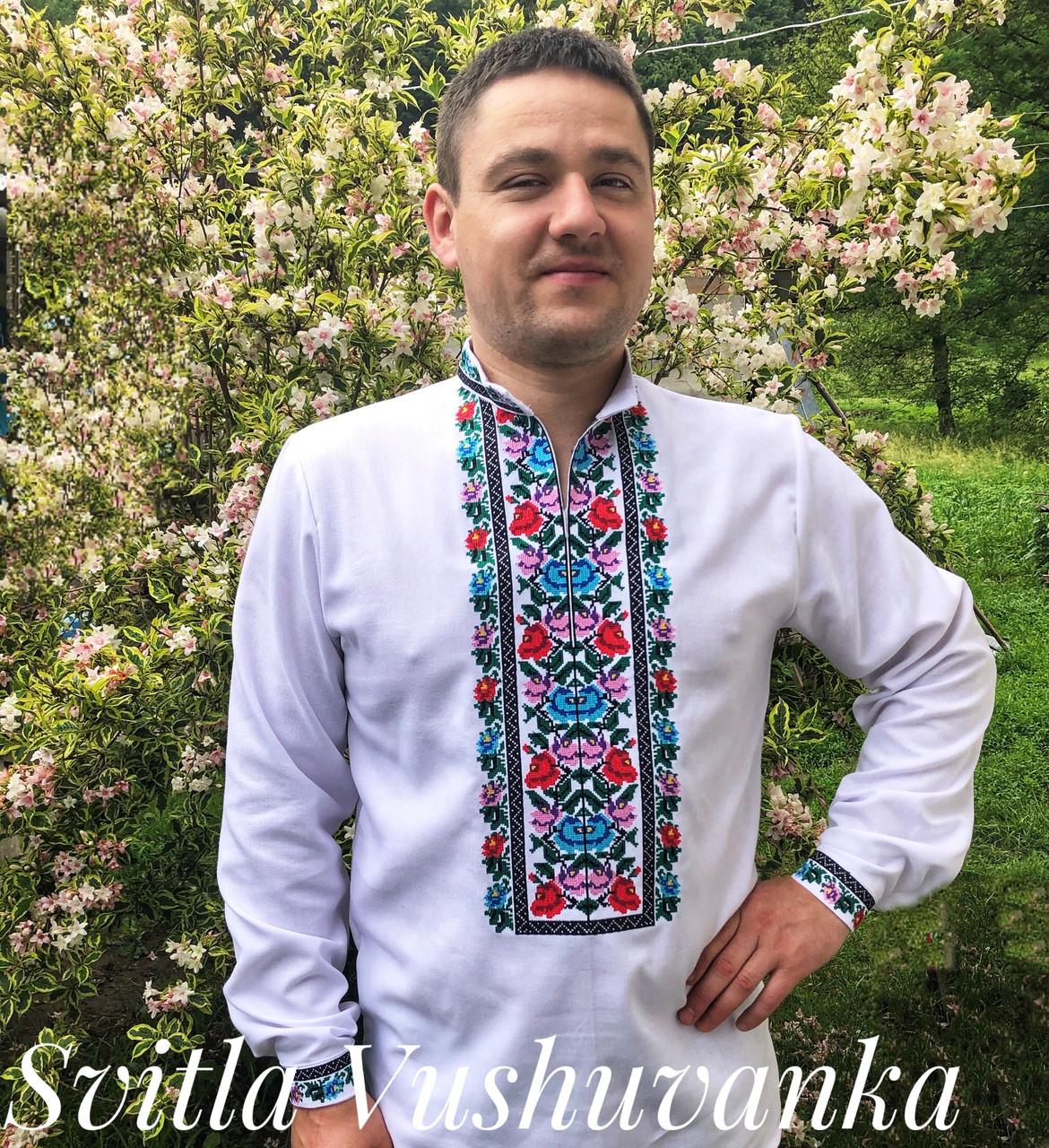 Квіткова чоловіча вишиванка, ефектна і кольорова «Дрібні рози»