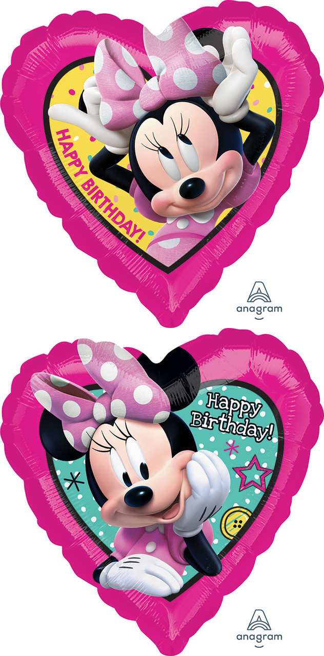 "A 18"" Minnie & Happy Helpers B'day. Фольгированный шар середце С Днем рождения Минни Маус"