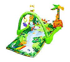 Игровой коврик с дугой для детей от 1 месяца Тропический лес Fitch baby развивающий 120х44 см