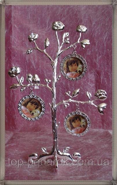 Фамильное дерево металическое на 3 фото размер 22*16*8