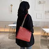 Женская большая классическая сумка на цепочке желтая, фото 5