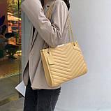 Женская большая классическая сумка на цепочке желтая, фото 2