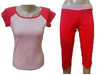 """Комплект спальный женский бриджи с футболкой P 03 """"Ego"""" 95% хлопок цвет красный"""