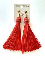 Червоні сережки кисті без каменів