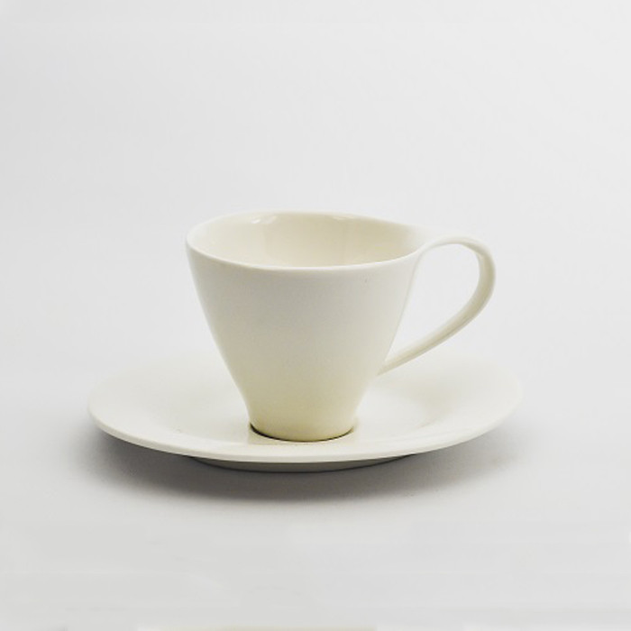 Чашка кофейная с блюдцем (80 мл) Костяной фарфор YF225